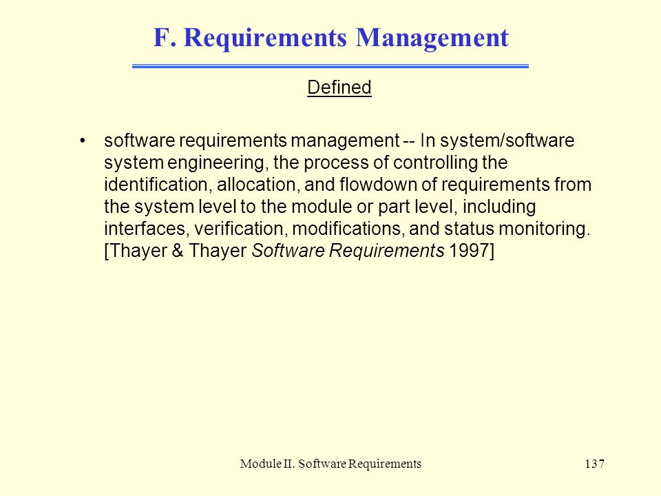F. Requirements Management