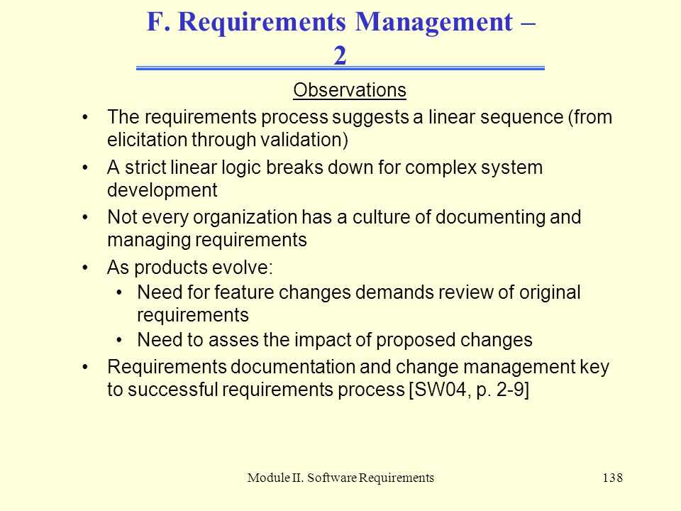 F. Requirements Management – 2