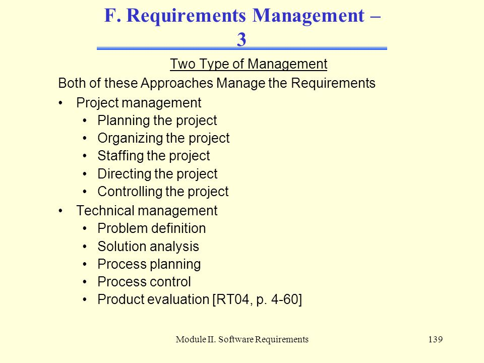 F. Requirements Management – 3