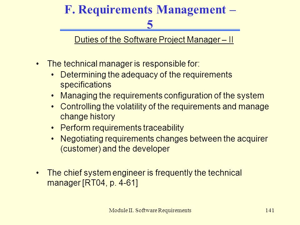 F. Requirements Management – 5