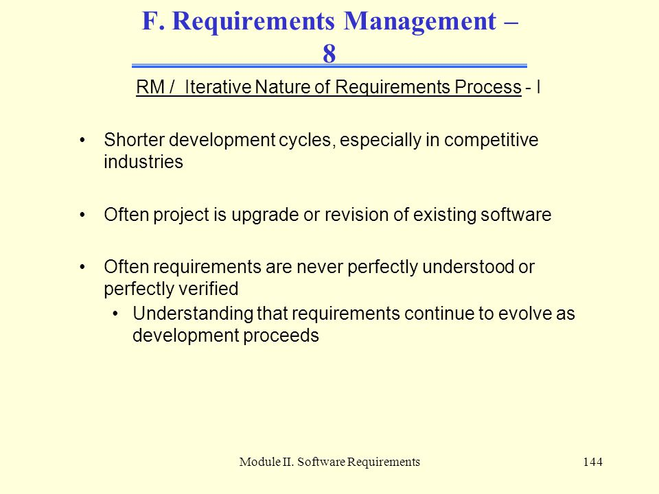 F. Requirements Management – 8