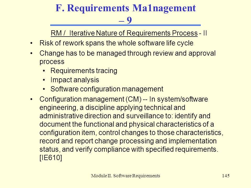 F. Requirements Ma1nagement – 9