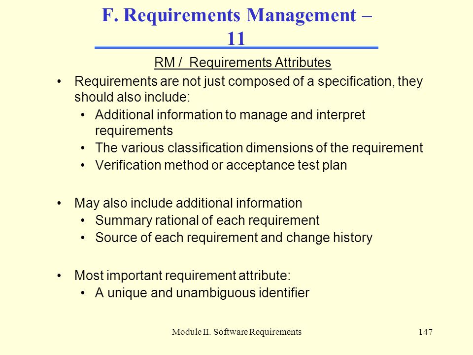 F. Requirements Management – 11