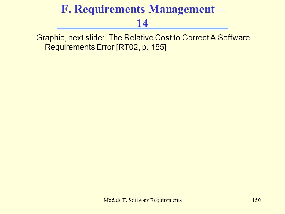 F. Requirements Management – 14
