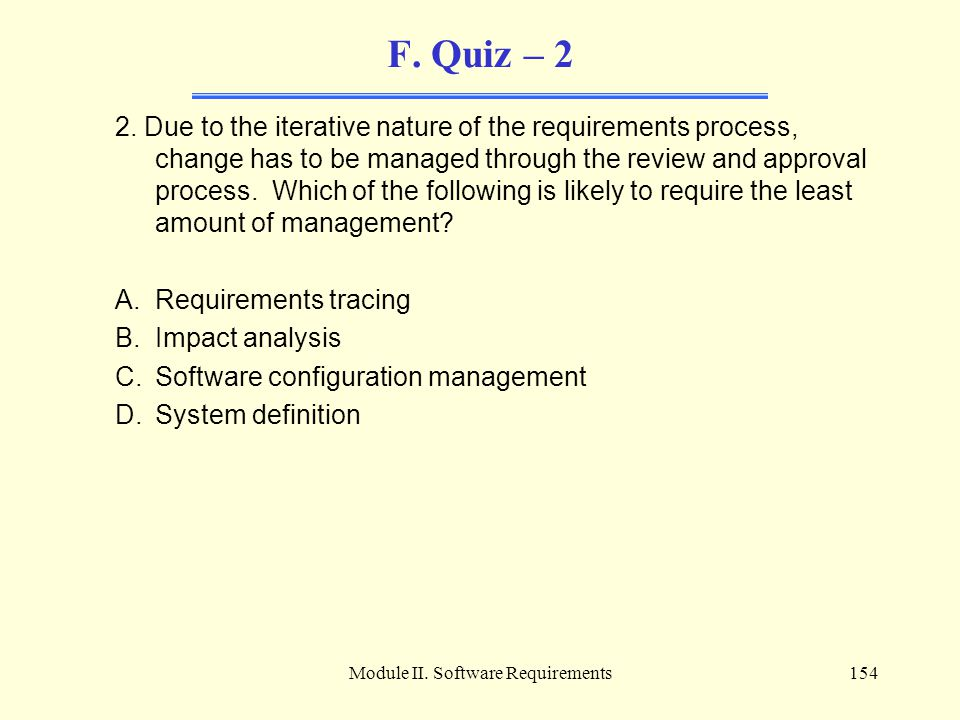 Module II. Software Requirements