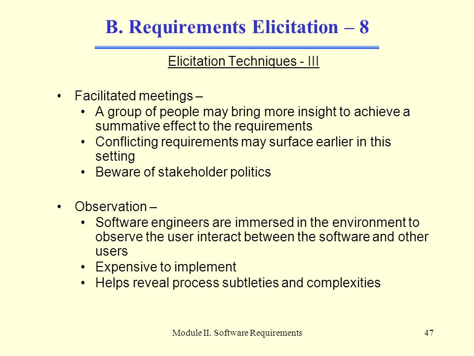 B. Requirements Elicitation – 8