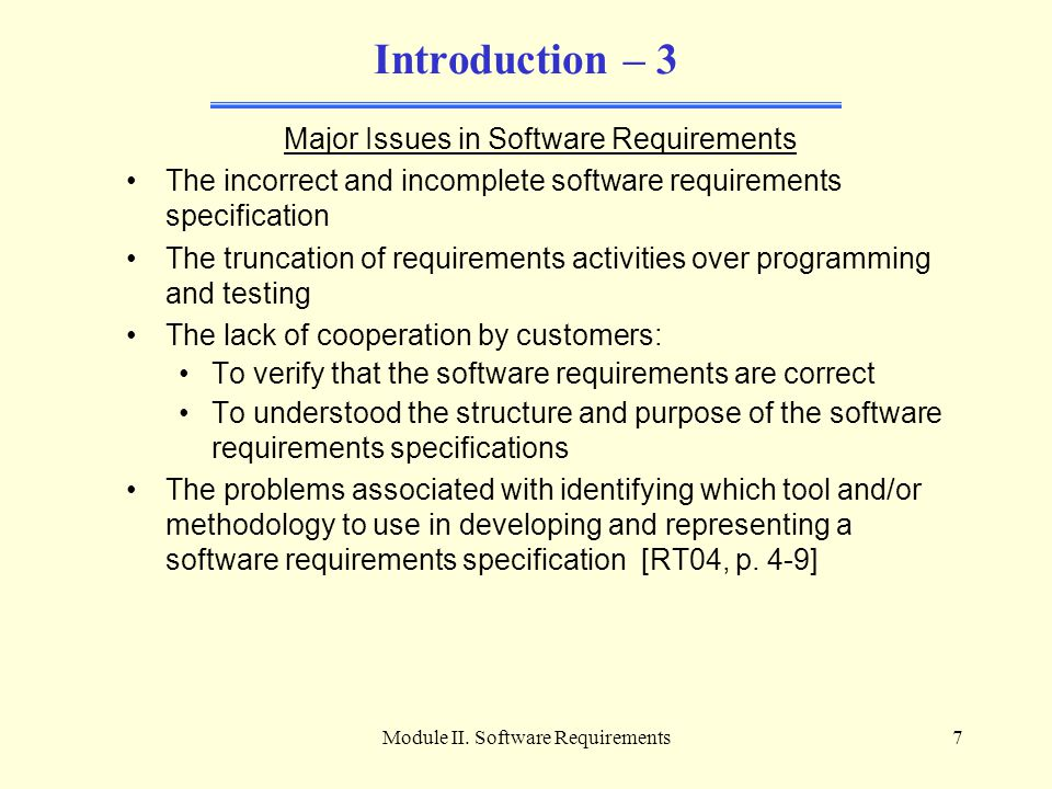 Introduction – 3 Major Issues in Software Requirements