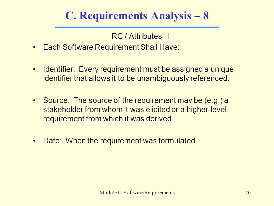 C. Requirements Analysis – 8