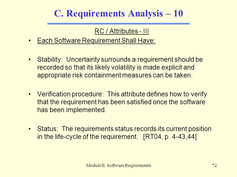 C. Requirements Analysis – 10