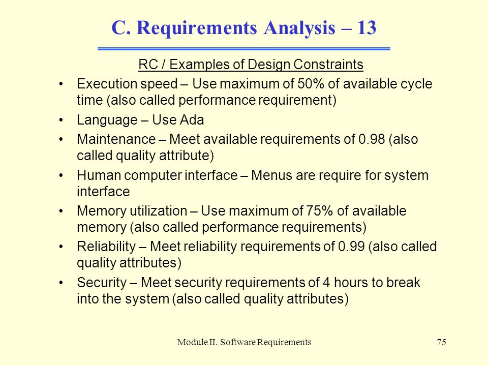 C. Requirements Analysis – 13