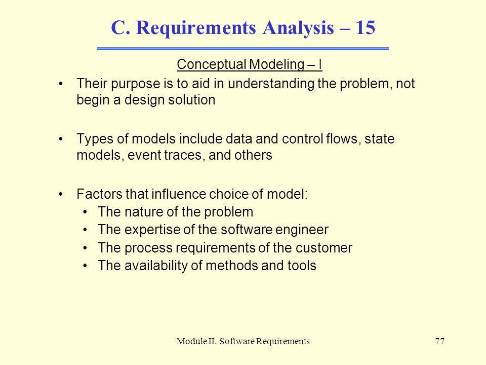 C. Requirements Analysis – 15