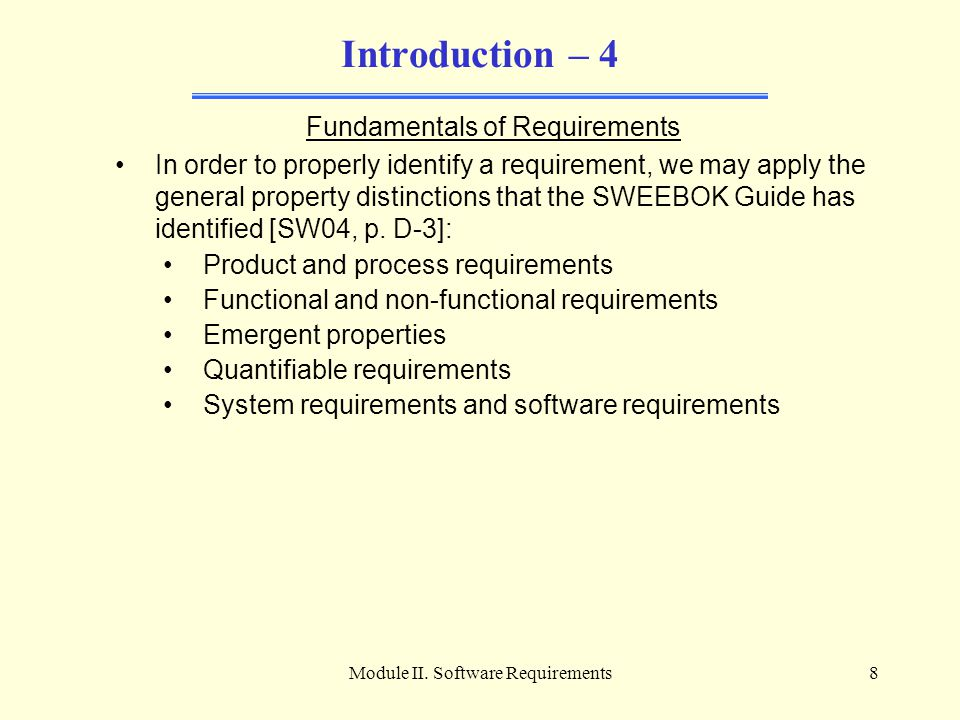 Introduction – 4 Fundamentals of Requirements