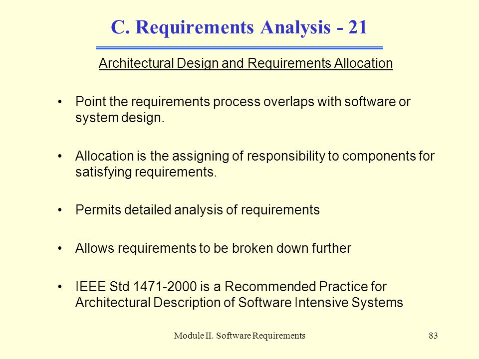 C. Requirements Analysis - 21