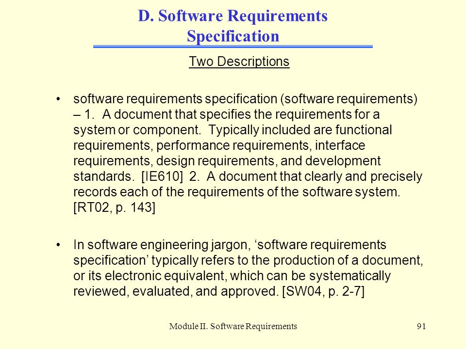 D. Software Requirements Specification