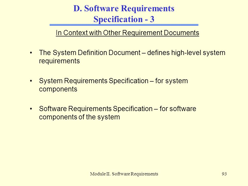 D. Software Requirements Specification - 3