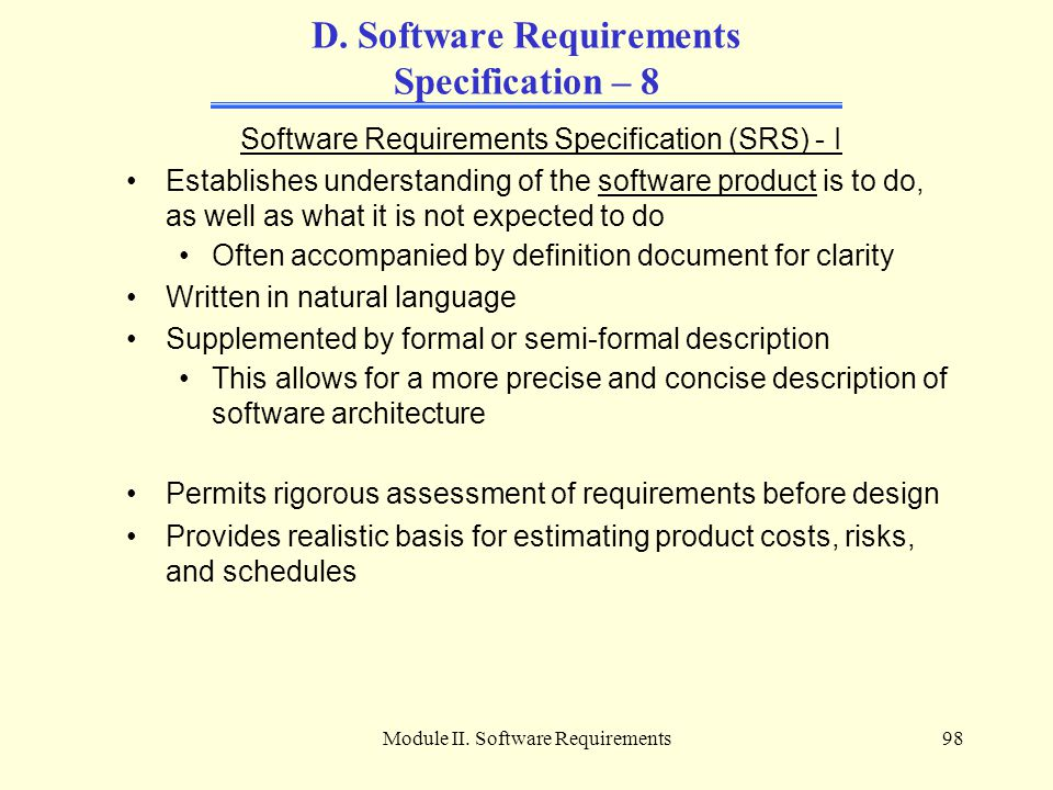 D. Software Requirements Specification – 8