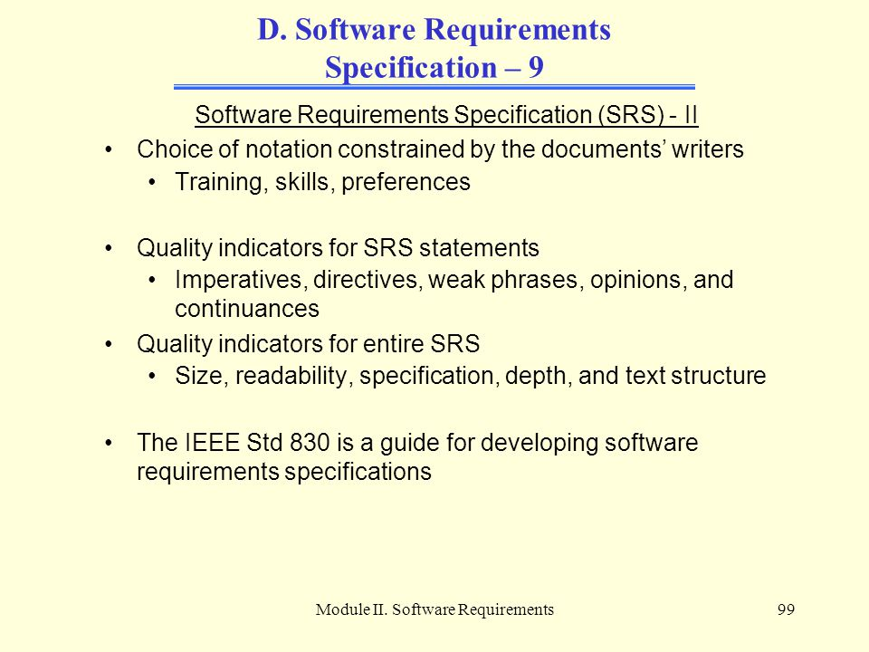 D. Software Requirements Specification – 9