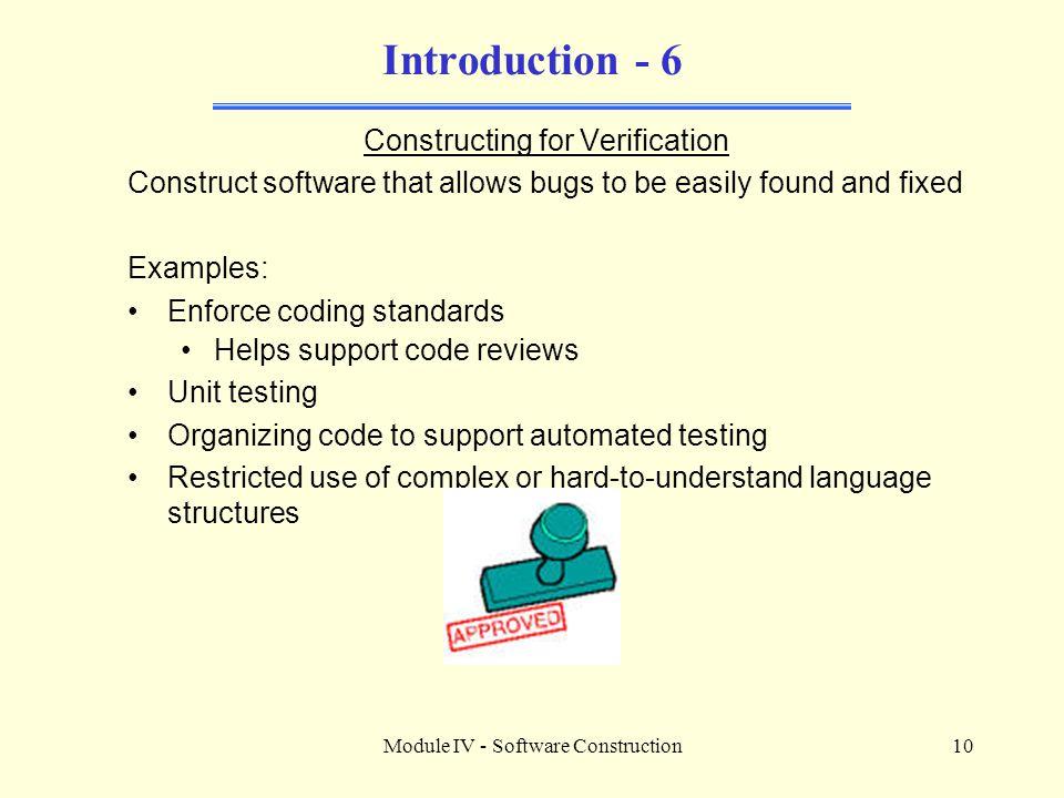 Introduction - 6 Constructing for Verification