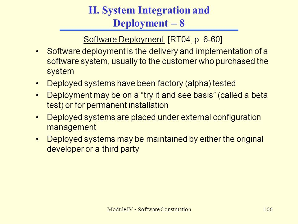 H. System Integration and Deployment – 8