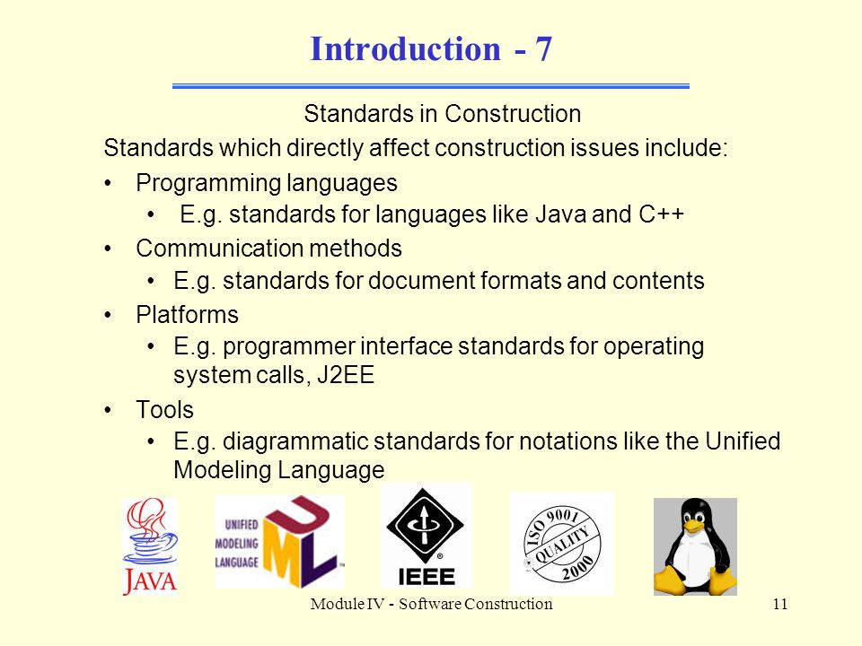 Introduction - 7 Standards in Construction