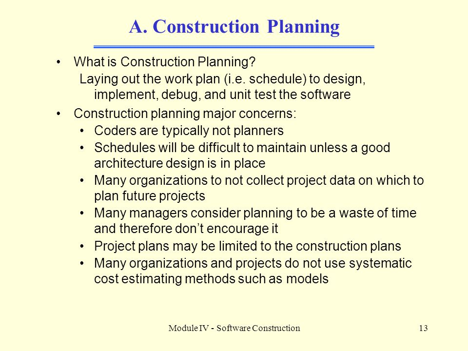 A. Construction Planning