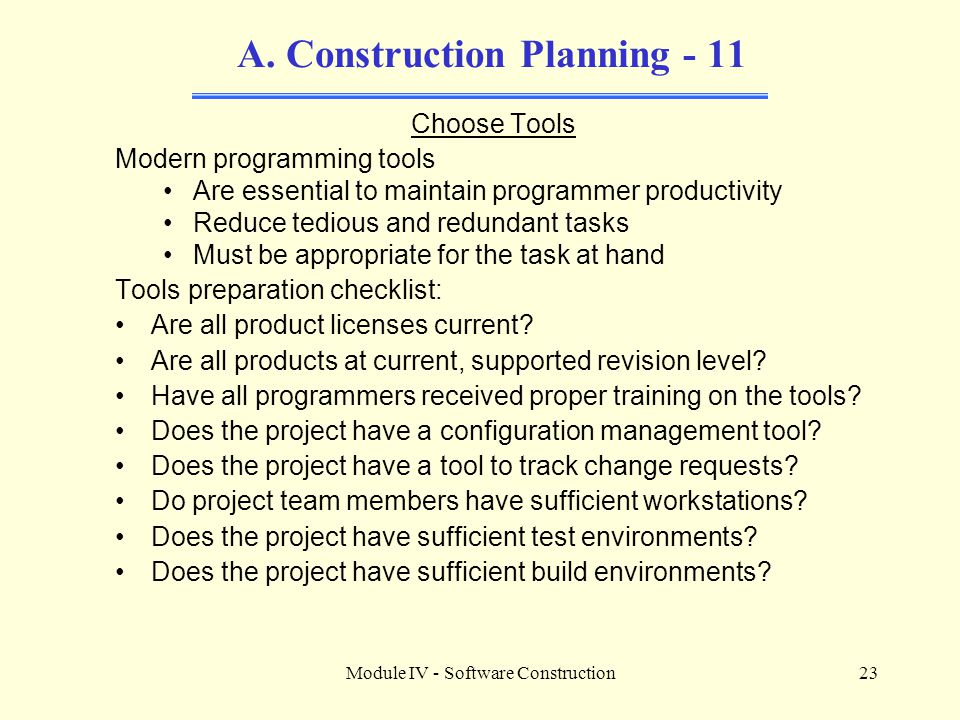 A. Construction Planning - 11
