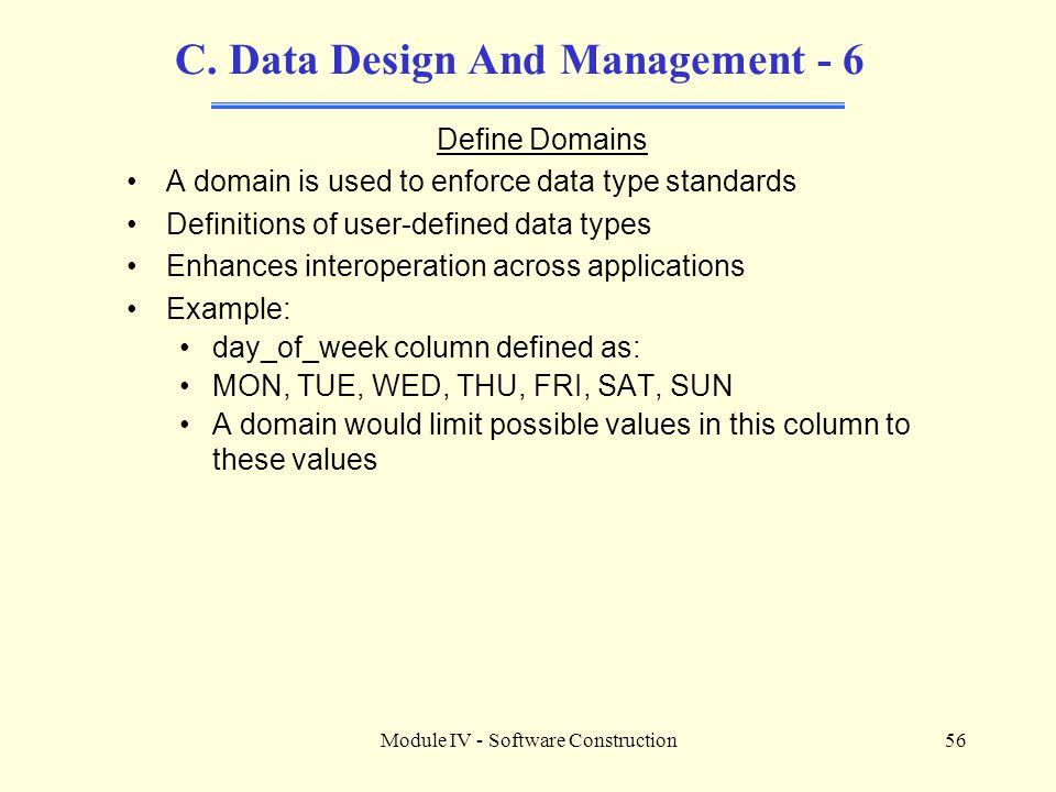 C. Data Design And Management - 6
