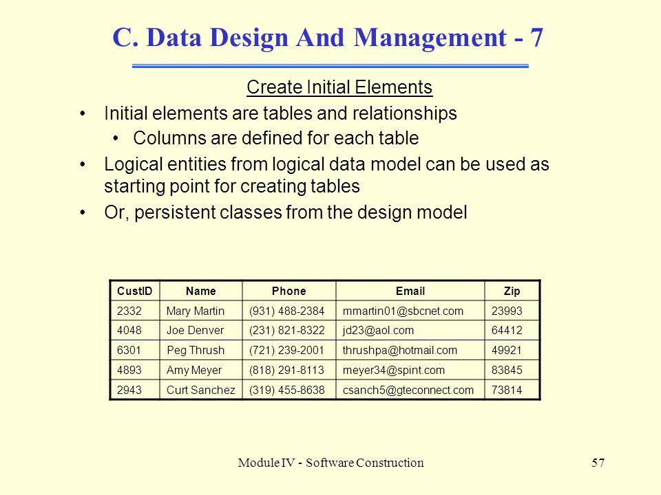 C. Data Design And Management - 7