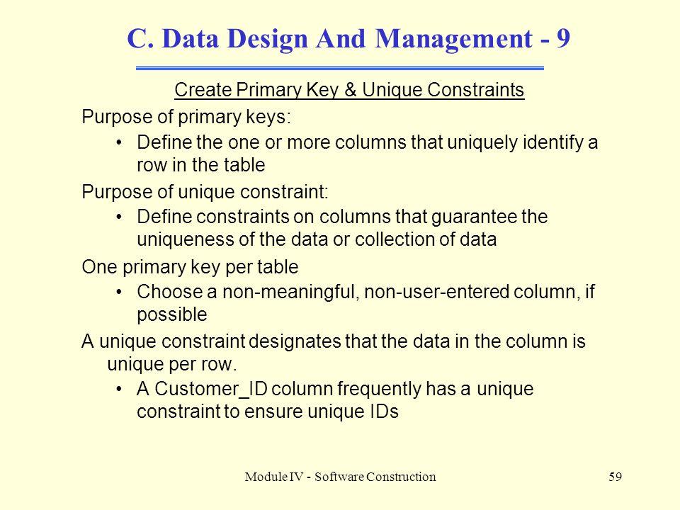 C. Data Design And Management - 9