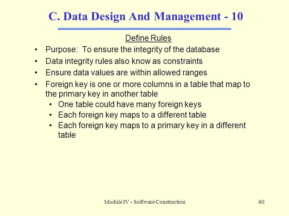 C. Data Design And Management - 10