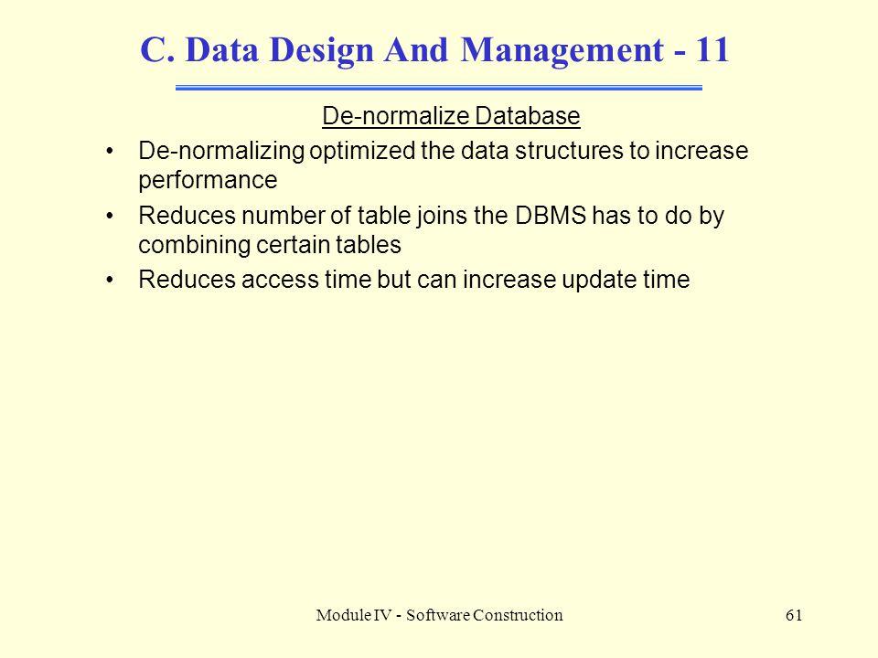 C. Data Design And Management - 11