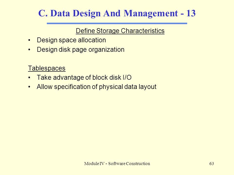 C. Data Design And Management - 13