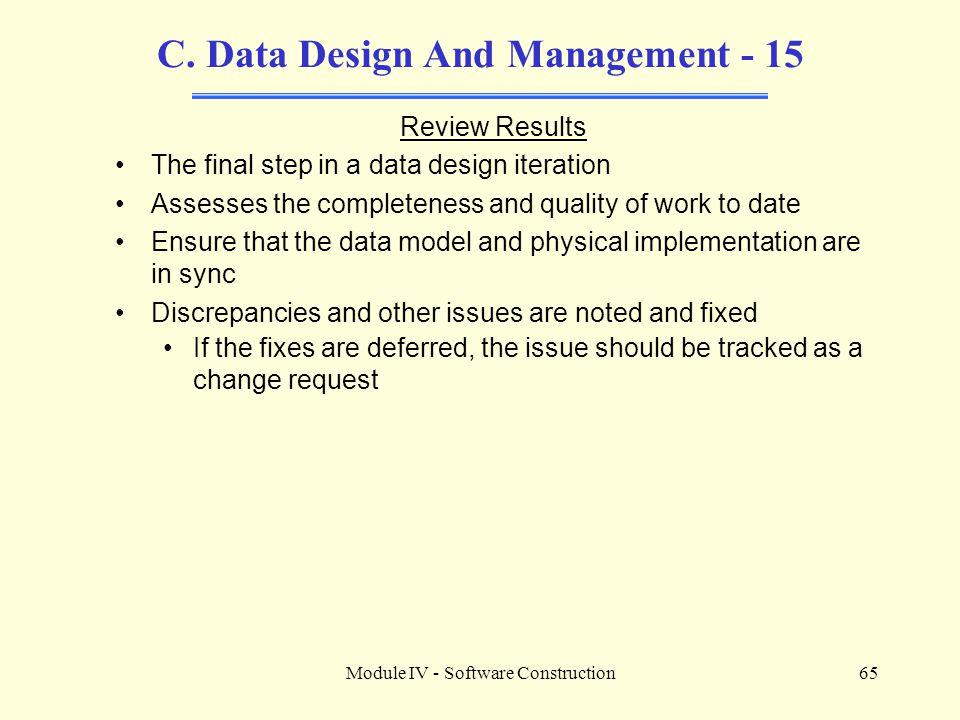 C. Data Design And Management - 15