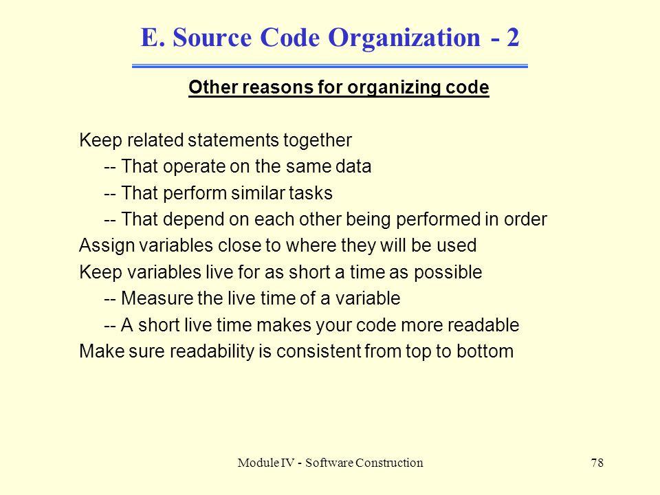 E. Source Code Organization - 2