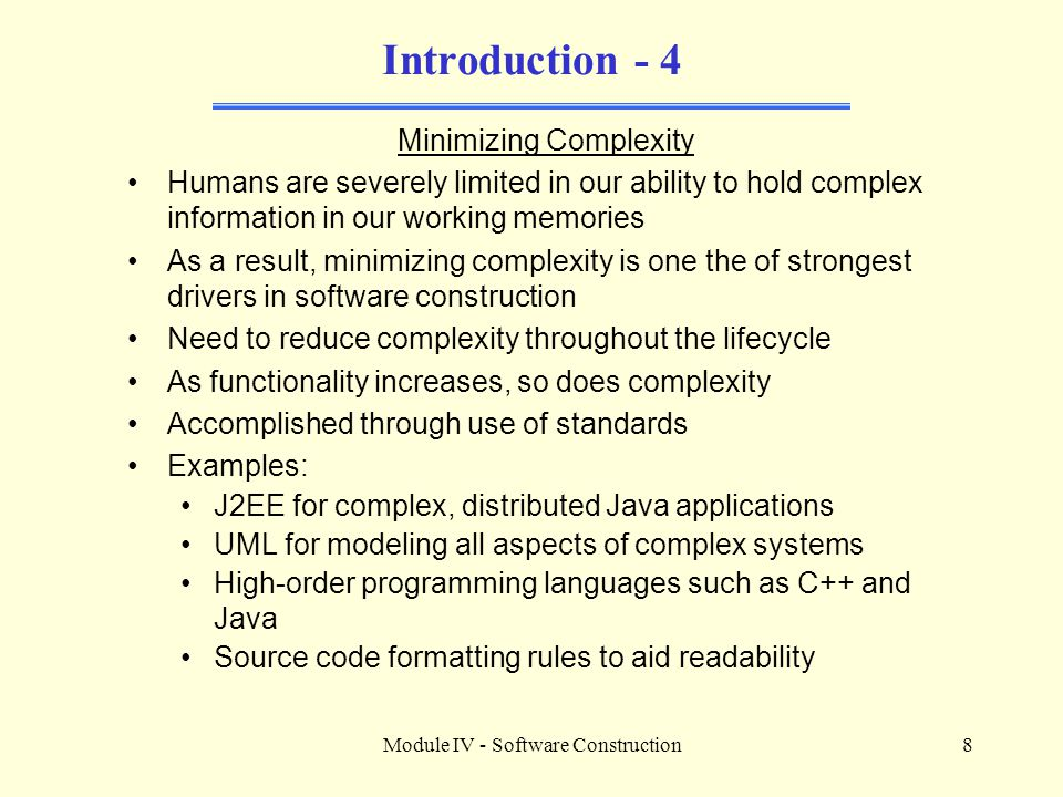 Introduction - 4 Minimizing Complexity