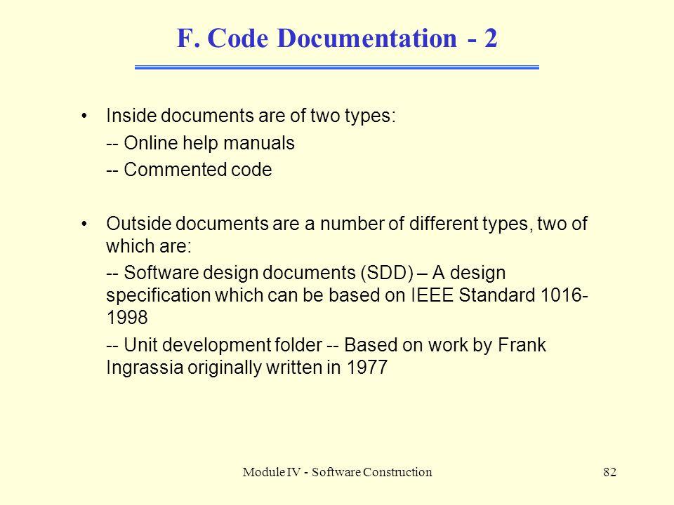Module IV - Software Construction