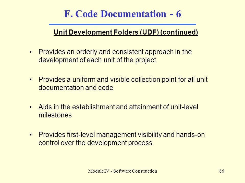 Unit Development Folders (UDF) (continued)