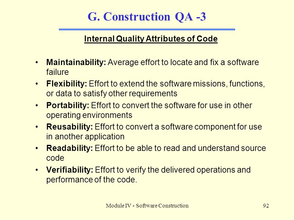 Internal Quality Attributes of Code