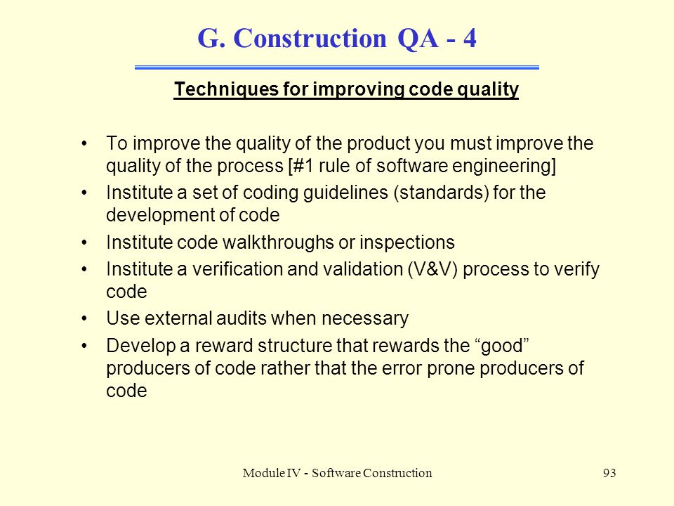 Techniques for improving code quality