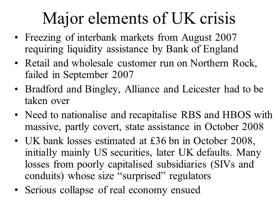 Major elements of UK crisis