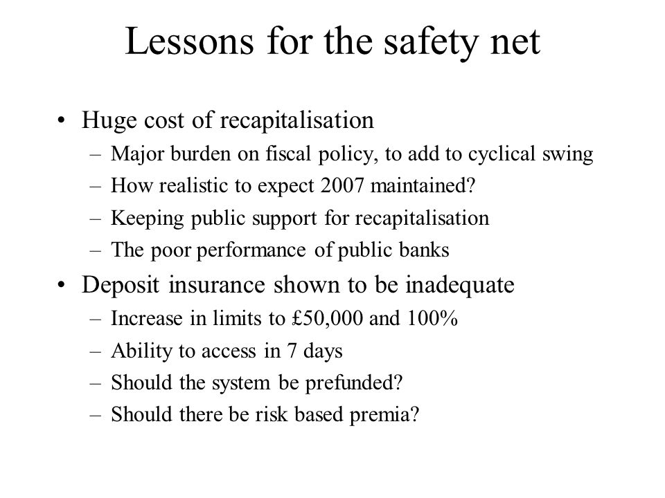 Lessons for the safety net