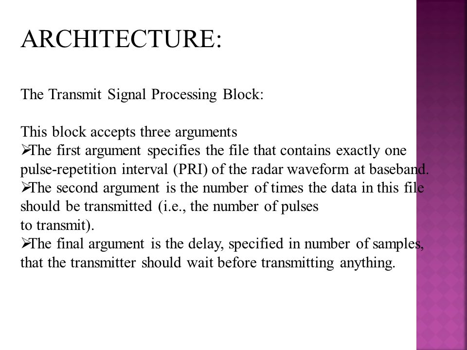 ARCHITECTURE: The Transmit Signal Processing Block: