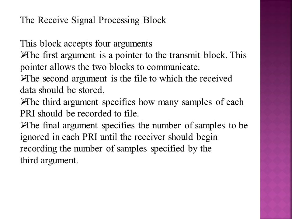 The Receive Signal Processing Block