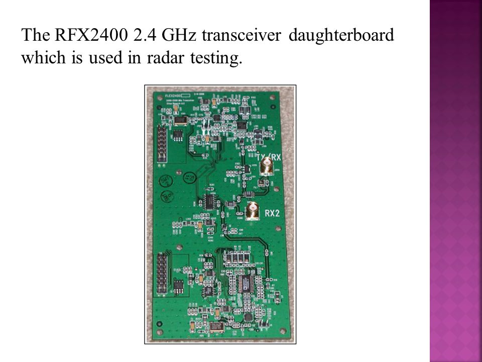 The RFX2400 2.4 GHz transceiver daughterboard which is used in radar testing.