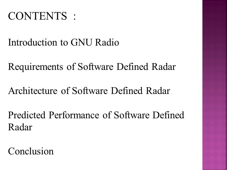 CONTENTS : Introduction to GNU Radio