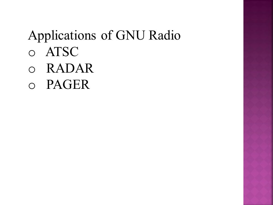 Applications of GNU Radio