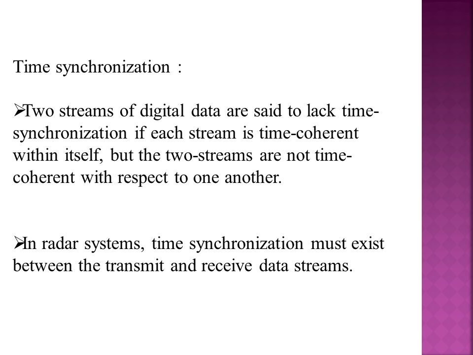 Time synchronization :