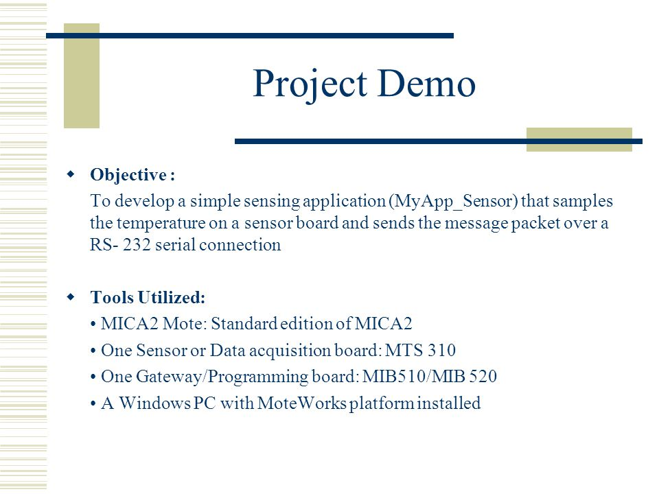 Project Demo Objective :