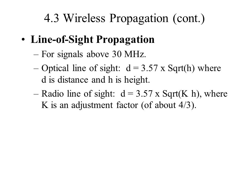 4.3 Wireless Propagation (cont.)