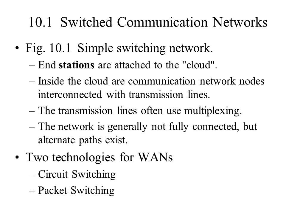 10.1 Switched Communication Networks